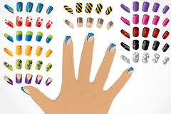 Female hand with painted glossy nails Royalty Free Stock Photos
