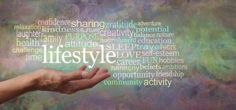 How is your lifestyle shaping up word cloud Royalty Free Stock Photography