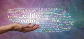Healthy Eating Word tag Cloud. Female hand palm up outstretched with the words HEALTHY EATING floating above surrounded by a relevant word cloud on a pink purple royalty free stock image