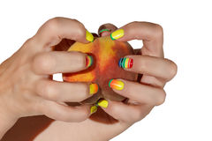 Female hand with a peach Royalty Free Stock Photo
