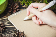 Female hand, pen, notebook, on the christmas decorations background Stock Photo