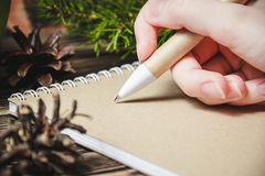 Female hand, pen, notebook, on the christmas decorations background Royalty Free Stock Image