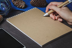 Female hand, pen, notebook, on the christmas decorations background Stock Image