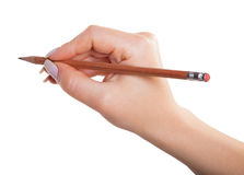 Female hand with a pencil Royalty Free Stock Photography