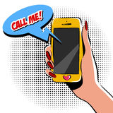 Female hand with phone pop art vector illustration. Comic book style imitation. Colorful. EPS Royalty Free Stock Images