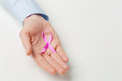 Female Hand with Pink Ribbon Stock Image