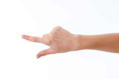 Female hand pointing in the direction of isolated on white background Stock Photo