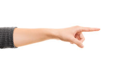 Female hand pointing a direction Stock Image