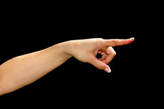 Female hand with pointing finge Stock Image