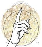 Female hand pointing on something with forefinger. Sacred geomet. Ry design elements. Alchemy, philosophy, spirituality symbols. Golden mandala. Vector Royalty Free Stock Photos