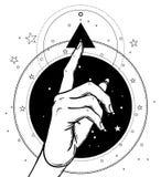 Female hand pointing on something with forefinger. Sacred geomet. Ry design elements. Alchemy, philosophy, spirituality symbols. Black, white vector illustration Royalty Free Stock Image