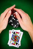 Female hand and poker chips Stock Images