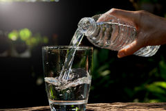 Female hand pouring water from bottle to glass on nature backgro Stock Photography