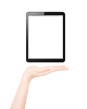 Female hand presents blank tablet pc Royalty Free Stock Images