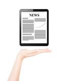 Female hand presents business news Stock Photo