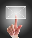 Female hand pressing e-mail Stock Images