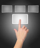 Female hand pushing a button on a touch screen Stock Photos