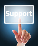 Female hand pushing support button Stock Photography