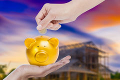 Female hand putting coin into a gold piggy bank with house construction background. Close up Female hand putting coin into a gold piggy bank with house Stock Photos