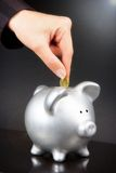 Female hand putting coin in piggy bank Royalty Free Stock Photo