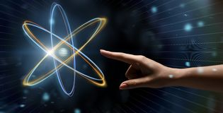 Free Female Hand Reaching To Glowing Atom Projection Royalty Free Stock Image - 156764596