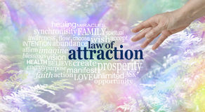 Make use of the Law of Attraction Word Cloud. Female hand reaching towards a LAW OF ATTRACTION word cloud  on a multi coloured wispy fantasy style woodland trees Royalty Free Stock Photography