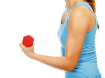 Female hand with a red barbell Stock Photos
