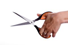 Female hand with scissors Stock Photo