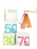 Female hand with shopping bags Royalty Free Stock Photo