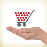 Shopping cart. Female hand with a shopping cart Stock Images