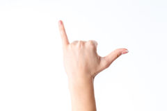 Female hand showing the gesture with extended up the little finger and thumb is isolated on a white background Stock Photos