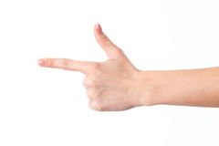 Female hand showing the gesture with index finger and raised up the thumb is isolated on a white background Stock Images