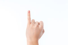 Female hand showing the gesture with raised up his pinky Stock Photos