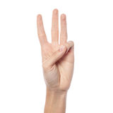 Female hand showing number three Royalty Free Stock Image