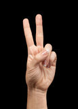 Female hand showing number two Stock Images