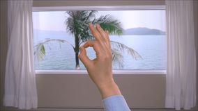 Female hand showing ok sign on background window with view on palm tree in sea. Female hand showing ok sign on background window with view on palm tree and stock video