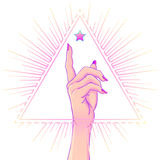Female hand showing pointing finger over triangle with rays. Realistic style vector illustration in pastel goth colors i. Female hand showing pointing finger vector illustration