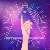 Female hand showing pointing finger over triangle with rays. Rea. Listic style vector illustration in pink pastel goth colors. Sticker, patch, poster graphic Stock Photo