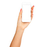Female hand showing smartphone of white screen, front view, isolated. Stock Images