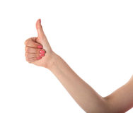 Female hand showing thumb up Stock Images