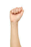 Female hand showing wrong fist gesture Stock Photo