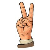 Female hand sign victory sign , or peace sign or scissors. Vector color flat illustration isolated on a white background. For web, poster, info graphic Royalty Free Stock Photo