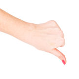 Hand signaling thumb down Royalty Free Stock Photo