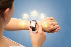 Hand with smartwatch. Female hand with smartwatch and sport concept stock images