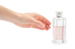 Female hand takes or gives jar of perfumed water. Royalty Free Stock Image