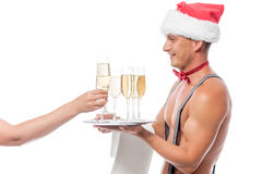 Female hand takes a glass of champagne Stock Photos