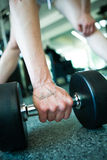 Female hand taking dumbells from row of barbells in gym Royalty Free Stock Photos