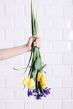 Female hand throws a bouquet of yellow and violet flowers Stock Images