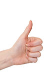Female hand thumbs up gesture isolated on white Royalty Free Stock Photo