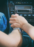 Female hand touches the male hand. Royalty Free Stock Photography